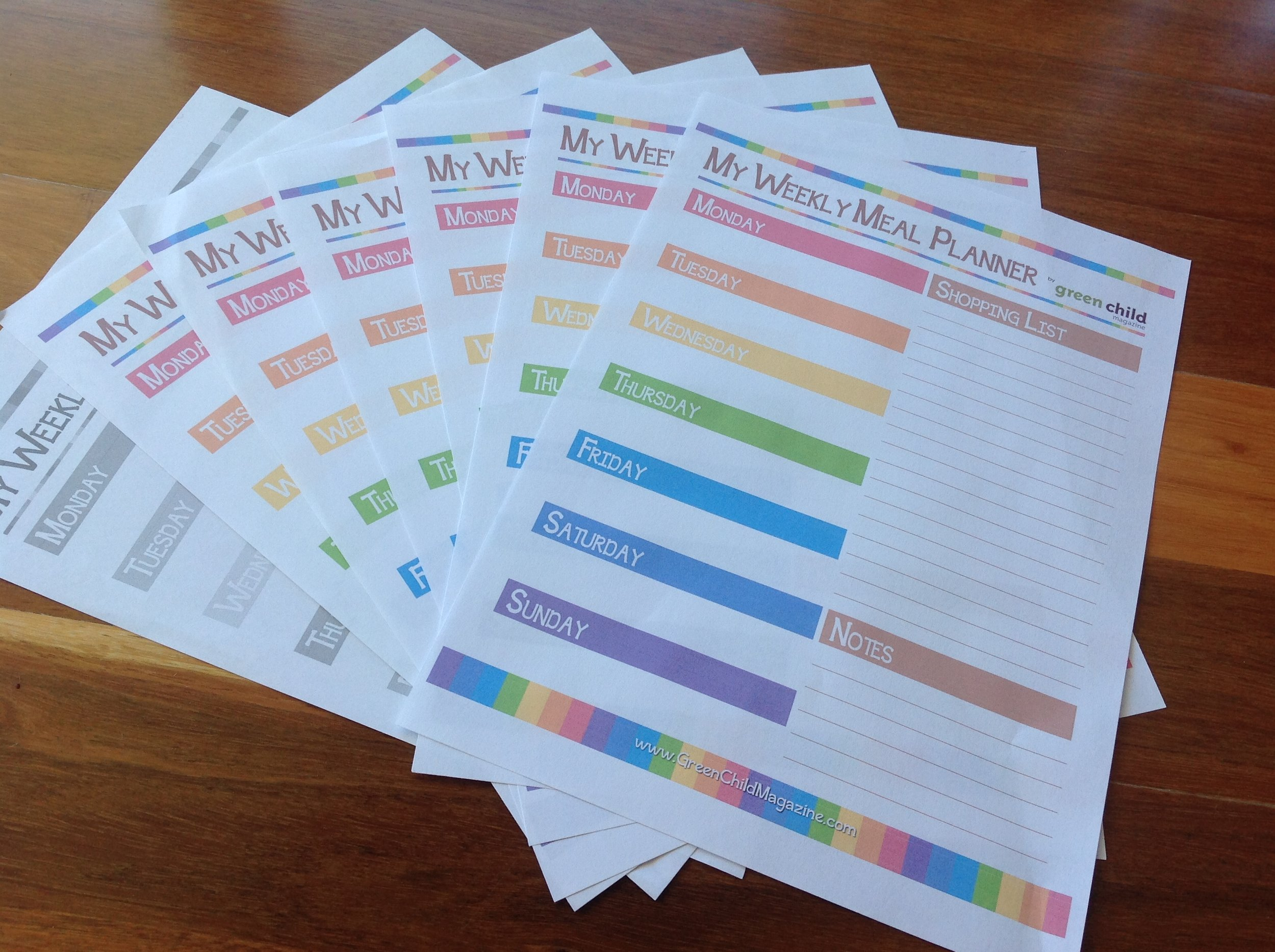 Free printable meal planners in colour