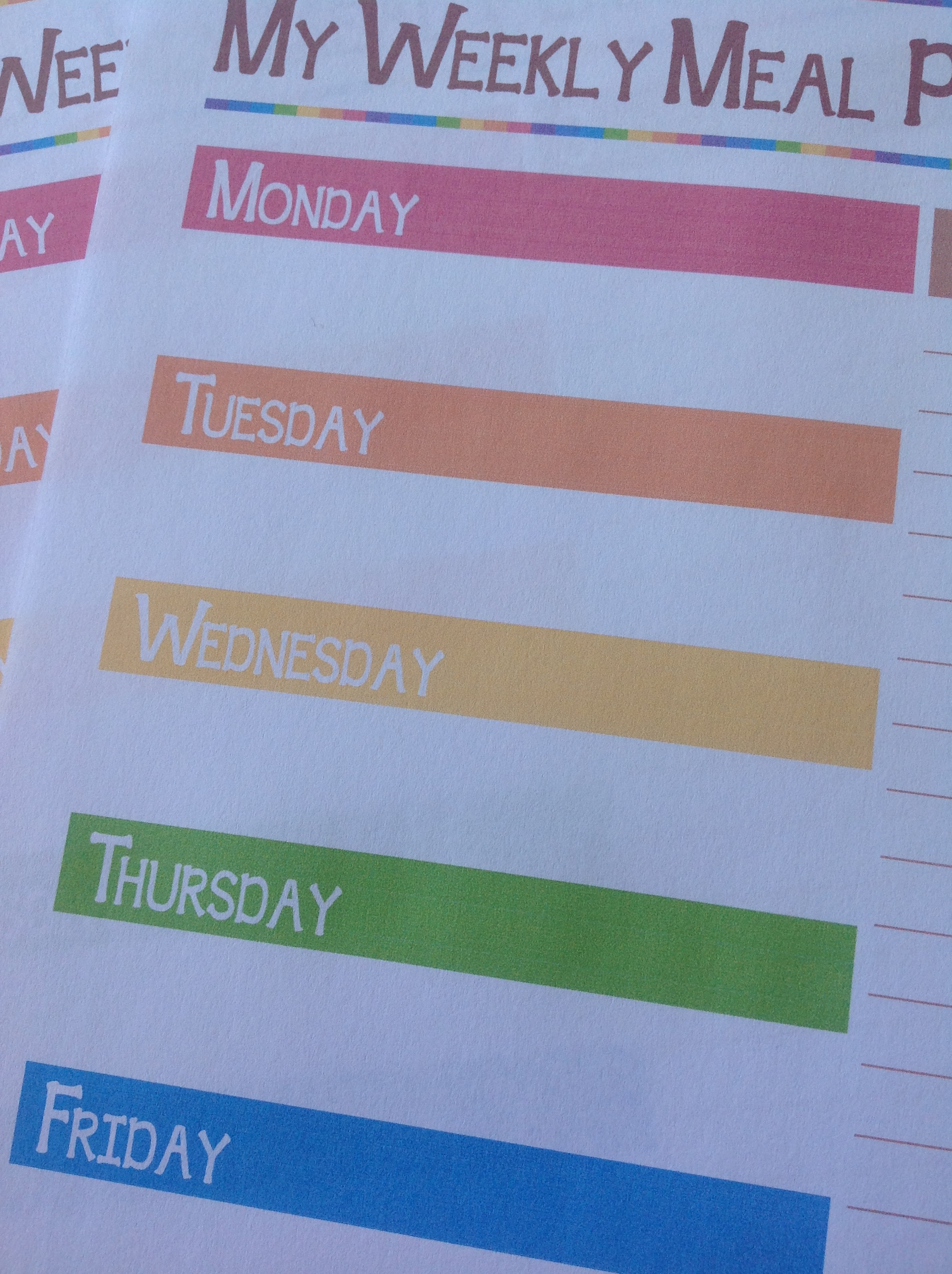 Detail from free printable meal planner in colour