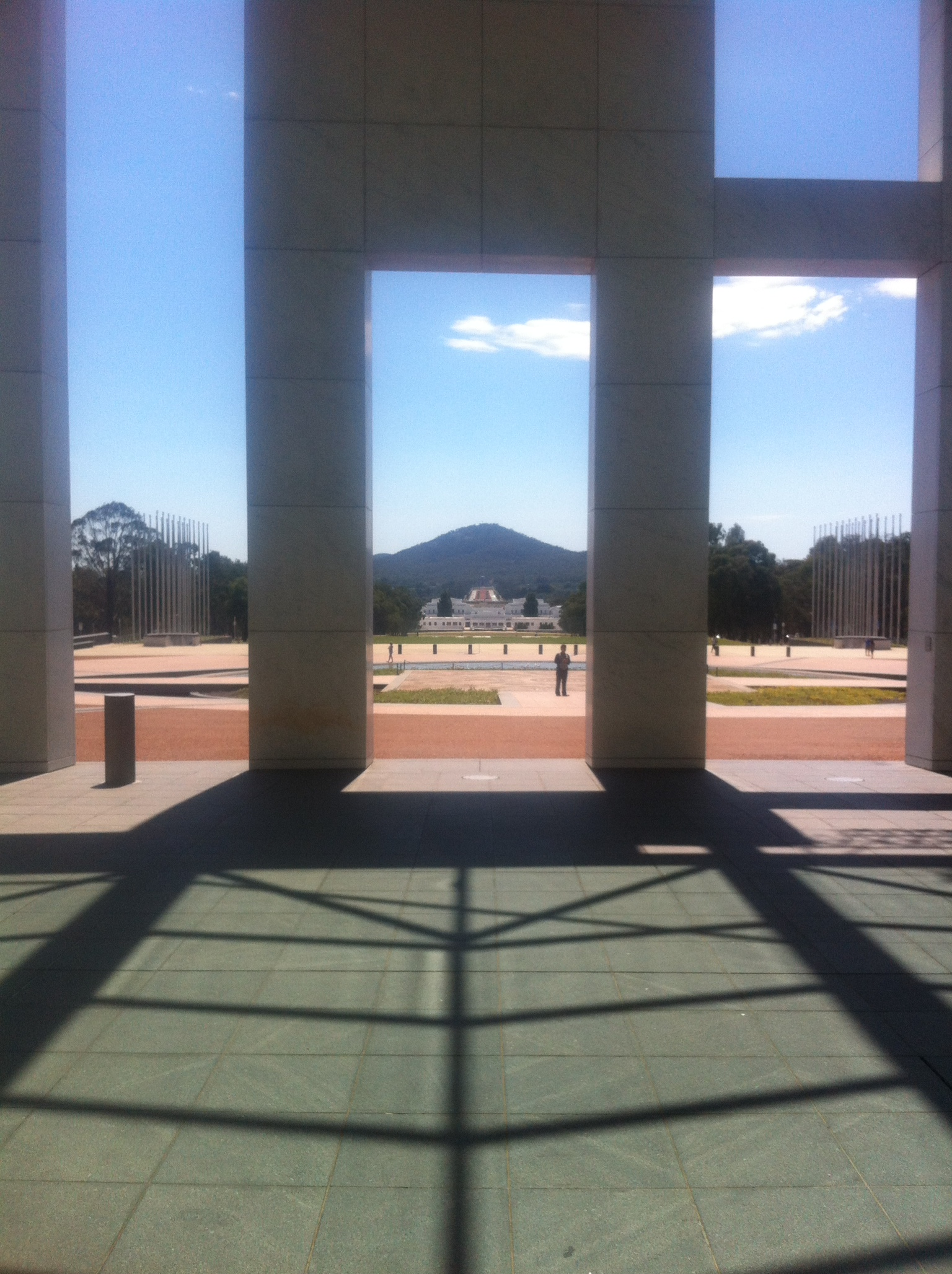 View towards Federation Mall from front of Parliament House