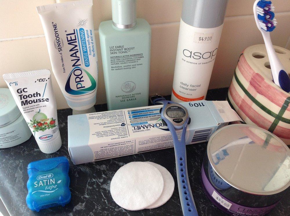 nighttime beauty and dental regime equipment