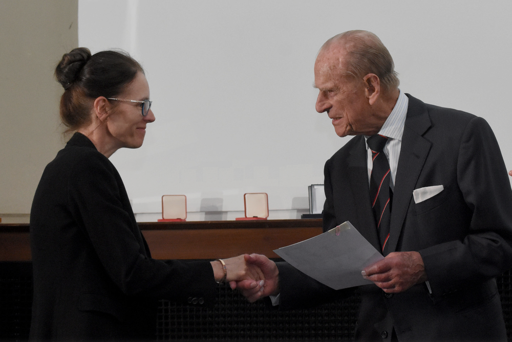 Kate receiving the Grocott prize from the Duke of Edinburgh
