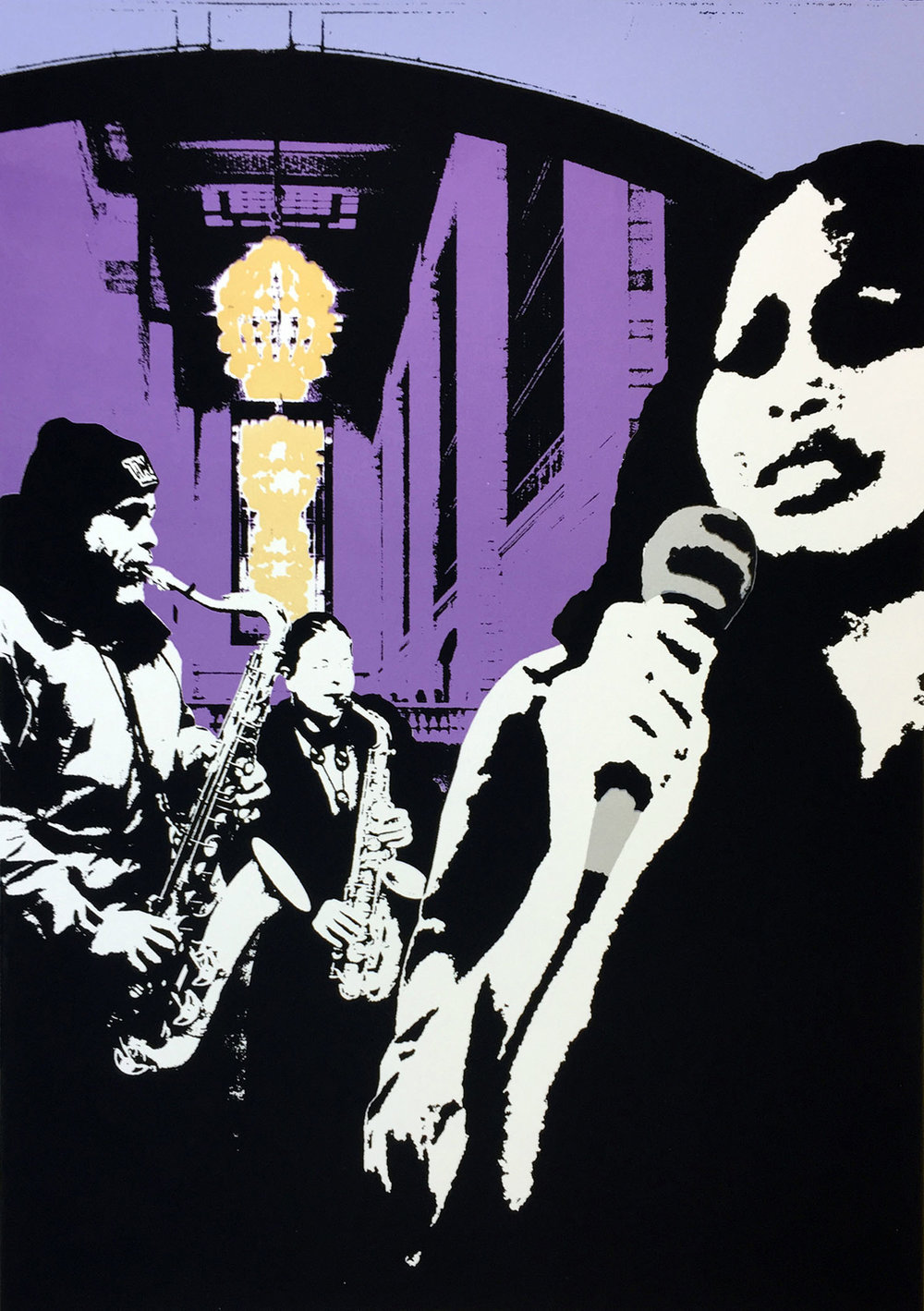 """The Songstress - serigraph, 28""""x 20"""", 2015"""
