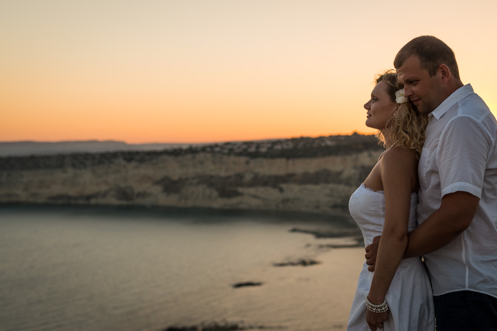 Sunset Kourion beach Cyprus wedding photographer