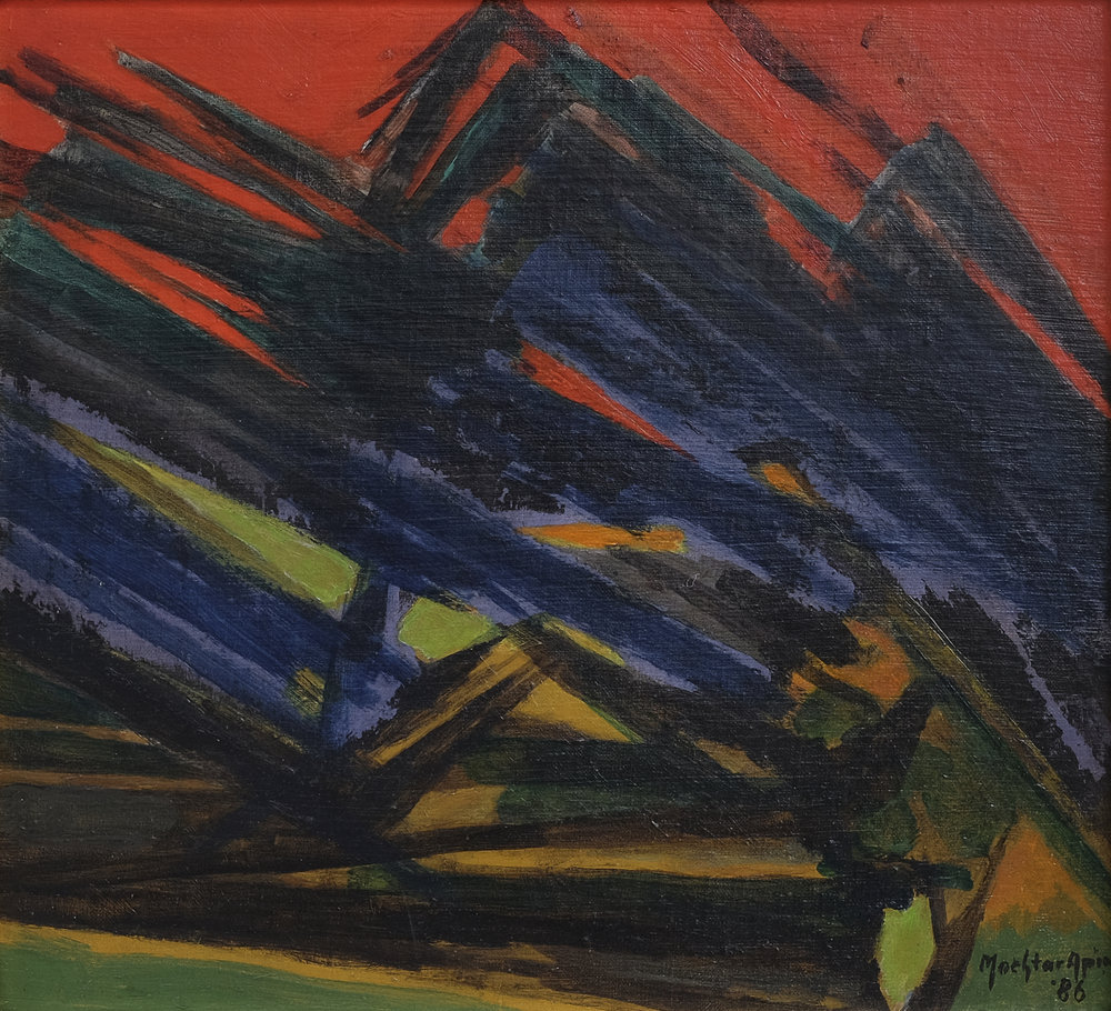 Mochtar Apin, Rumput Liar & Padi Harapan (Wild Grass), aoc, 40 x 44 cm, 1986.jpeg