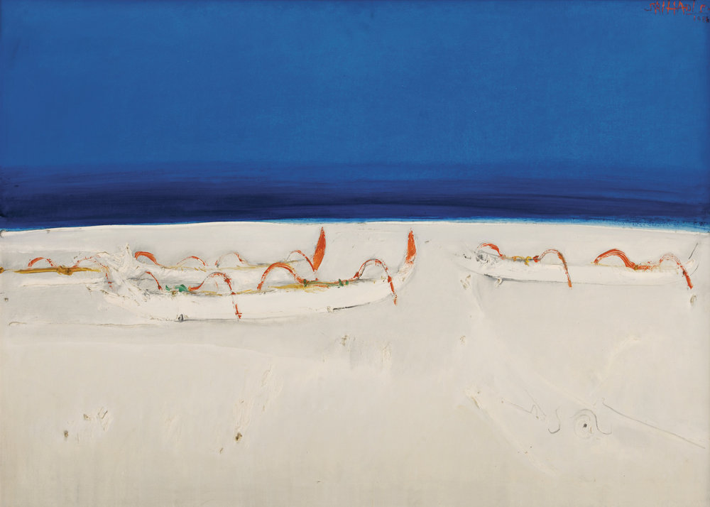 Srihadi Soedarsono, Horizon and the Fishing Boats, ooc, 100 x 140 cm, 1986.jpg