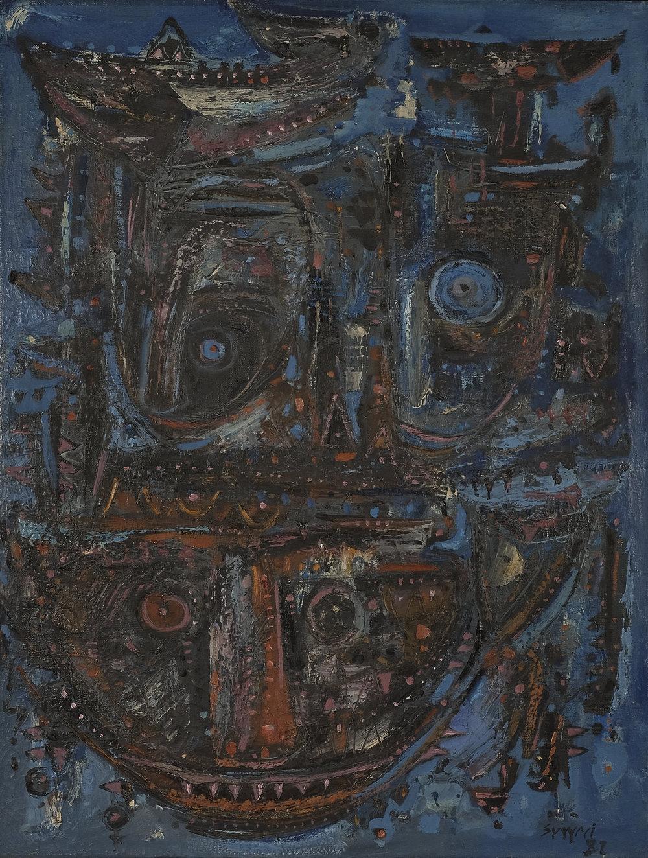 Suwaji, Topeng-topeng Primitif (Primitive Mask), ooc, 95 x 72 cm, 1981.jpeg