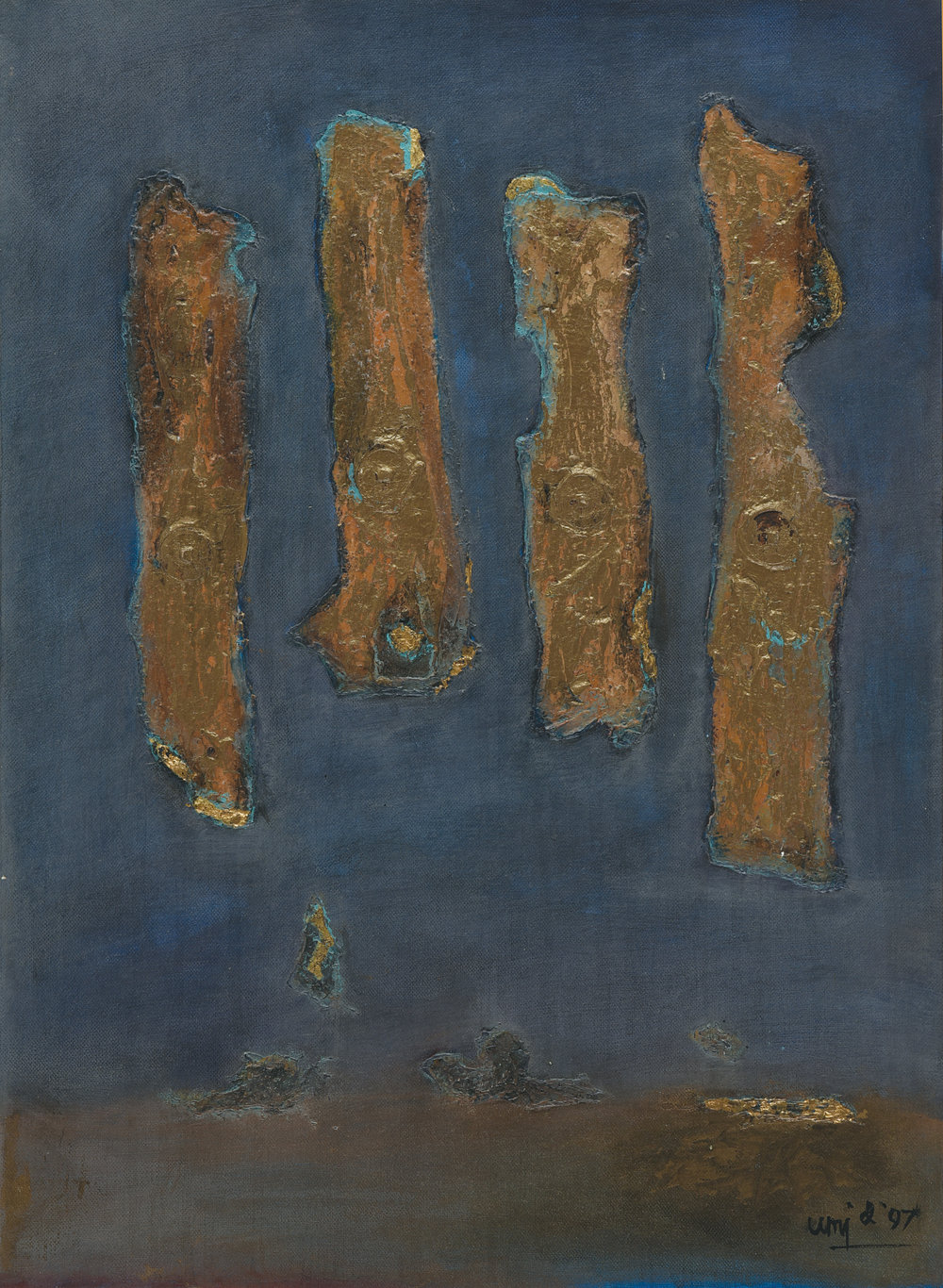 Umi Dachlan, Pilar Emas diatas Biru (Golden Pillars on Blue), ooc, 58 x 42 cm, 1997.jpg