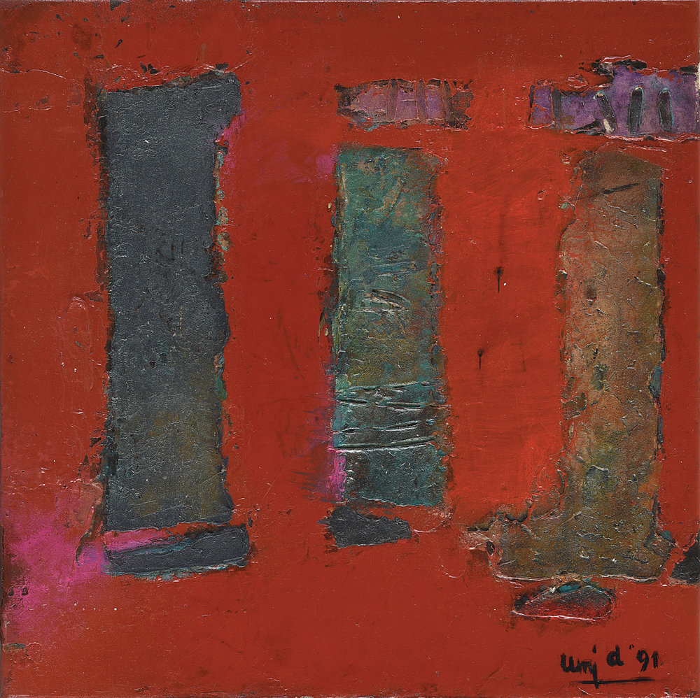 Umi Dachlan, Three Pillars of Abstraction, oil and mixed media on canvas, 40 x 40 cm, 1991.jpg