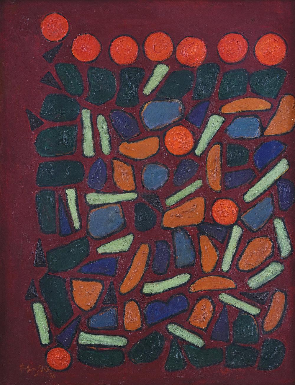 Fadjar Sidik, Bentuk Bertumpuk dalam Merah (Stacked Forms in Red), 75x60cm, ooc, 1978.jpg