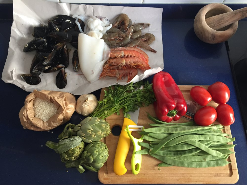 Fresh ingredients for our paella after a quick trip to the neighborhood market.