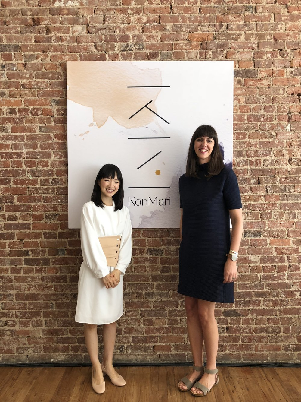 Here, Marie and I are showing off the beautiful new KonMari logo at a press event in NYC in the summer of 2018. This photo was taken nearly two years after I embarked on my journey as a member of the first class of trainees, joining a group of amazing women around the world (and a few men!) who are helping people to #choosejoy.