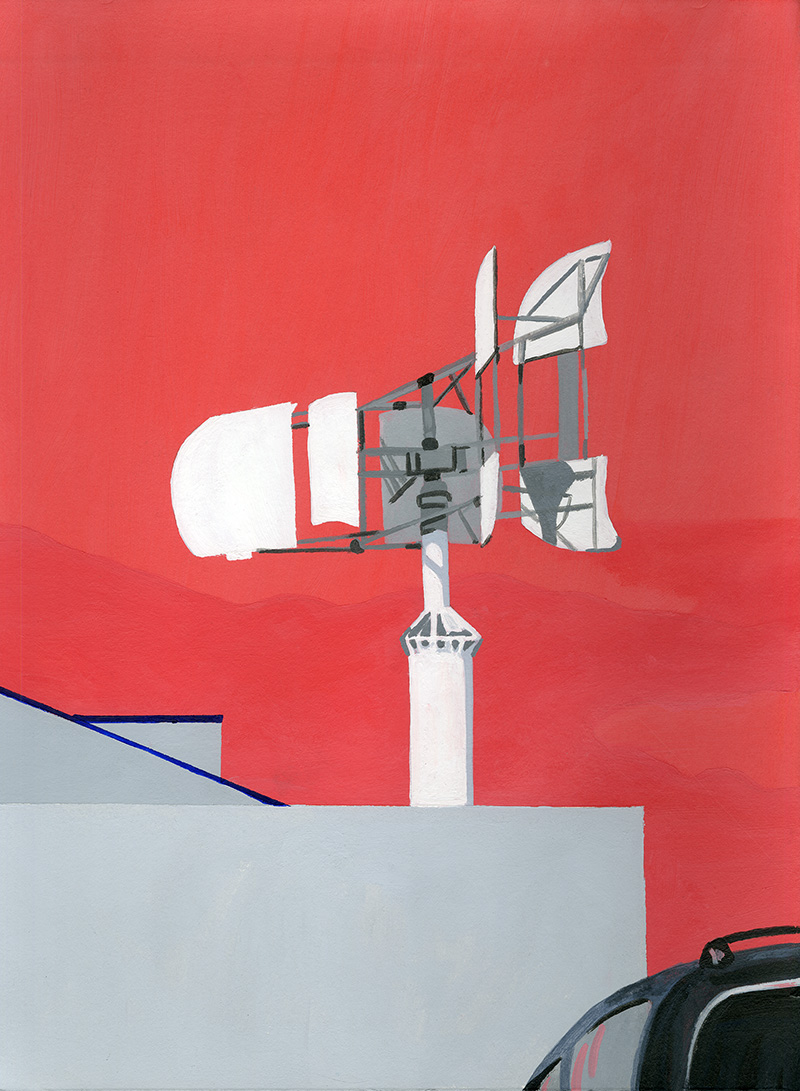 "Wind Turbine, 2015, Acrylic on paper. 12"" x 10"""