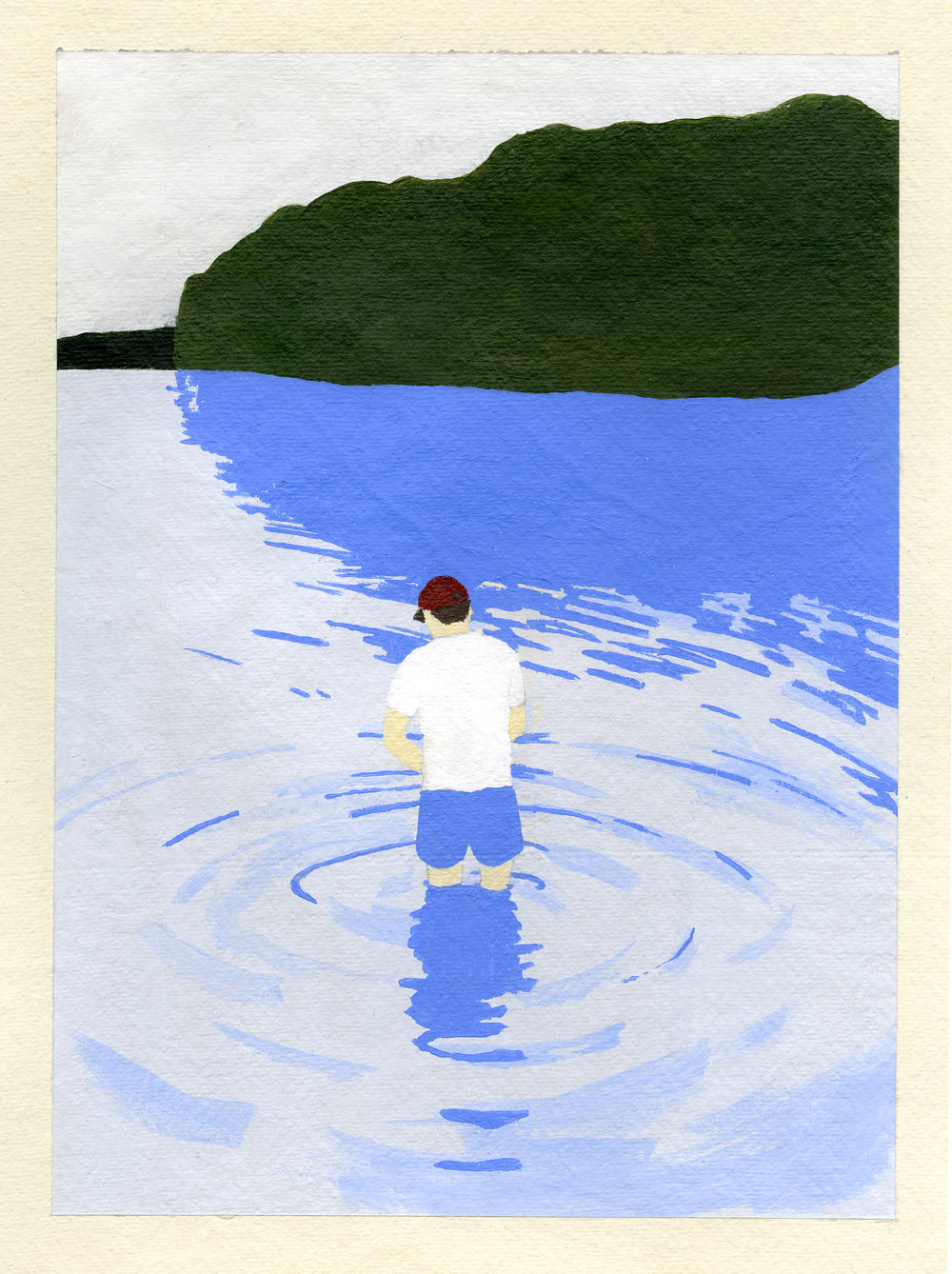 "Lake, 2016, Acrylic on paper. 12"" x 8"""