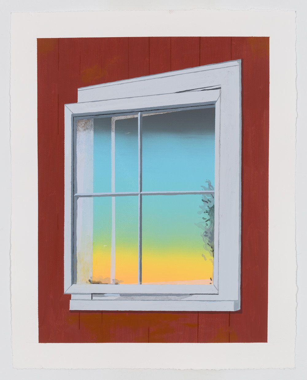 "Window, 2016, Acrylic and silkscreen on paper. 20"" x 15"""