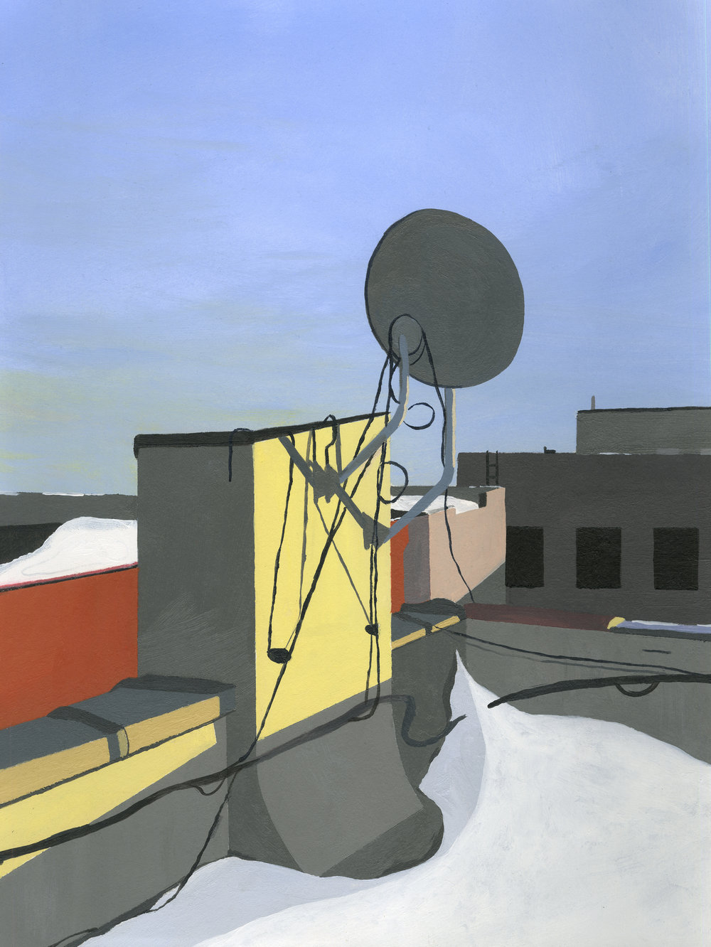 "Roof, 2015, Acrylic on paper. 12"" x 10"""
