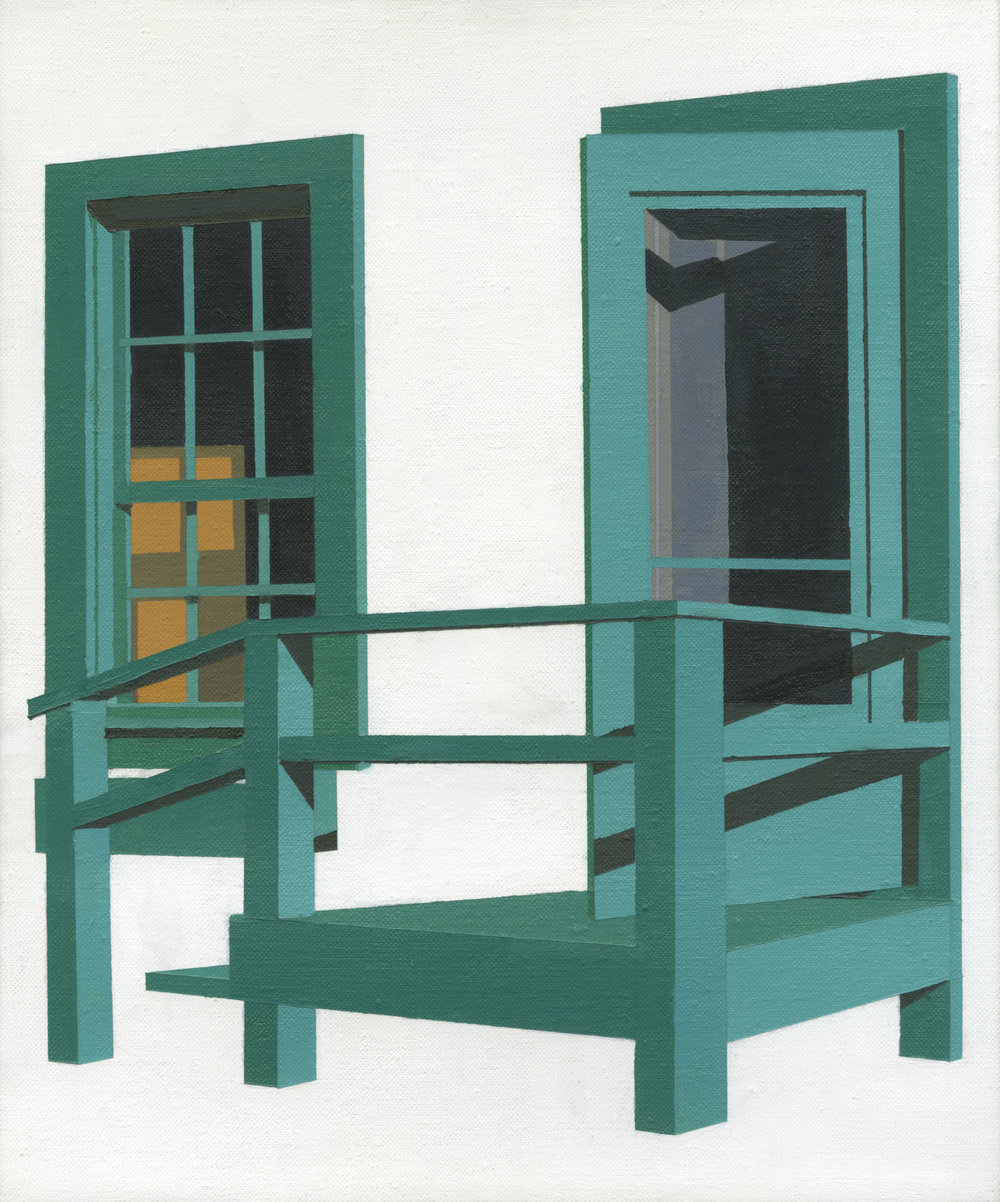 "Green door, 2016, Oil on linen. 12"" x 10"""