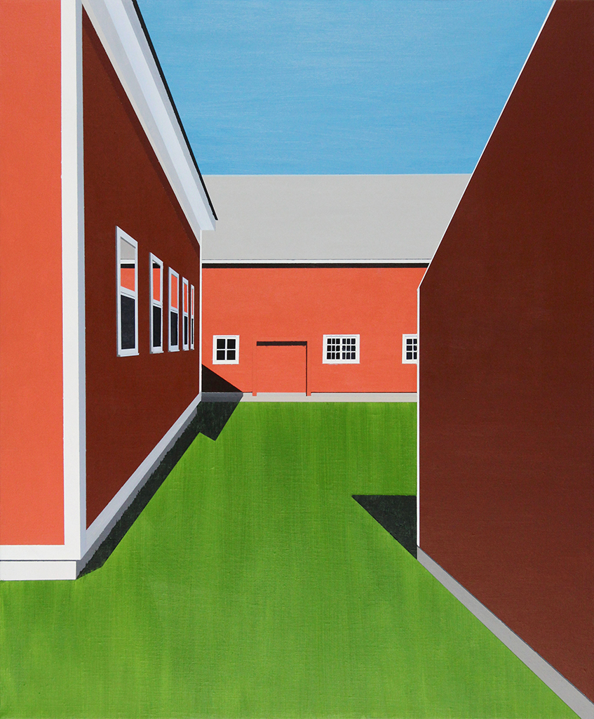 "Red Barn, 2017. Acrylic and oil on linen 24"" x 20"""