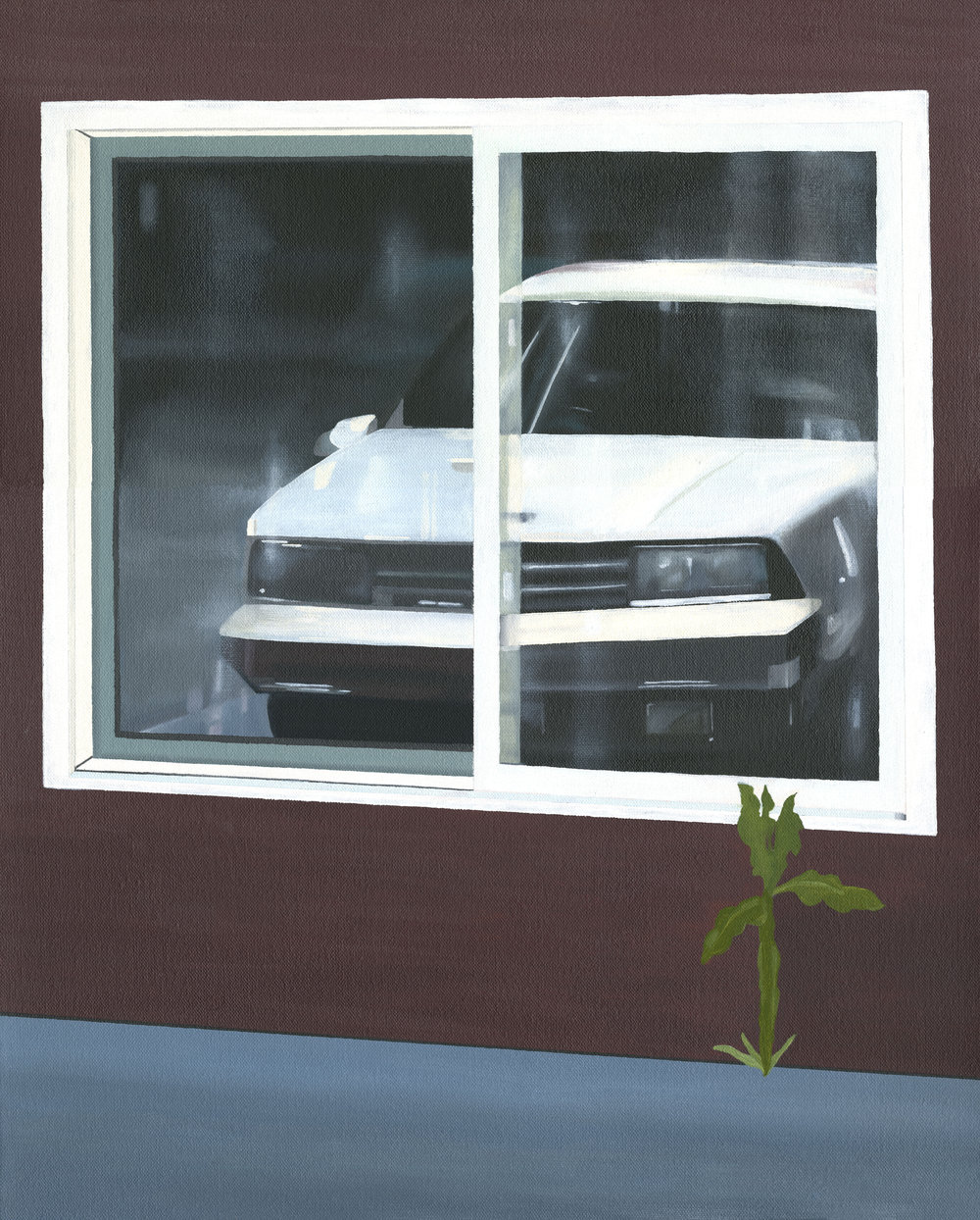 "Car Reflection, 2017. Oil on canvas 20"" x 16"""