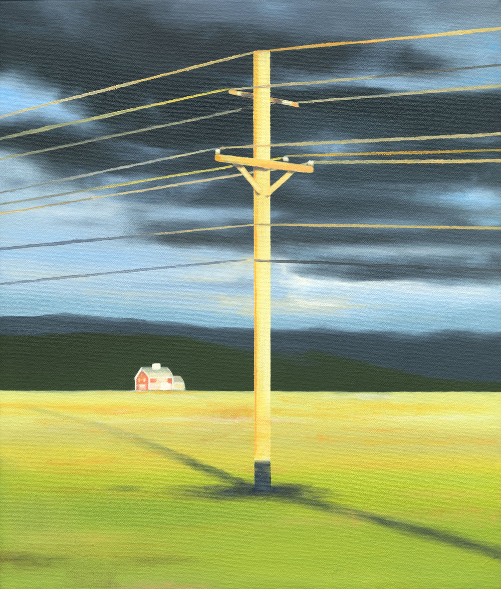 "Power Lines, 2017. Oil on canvas 14""x 12"""