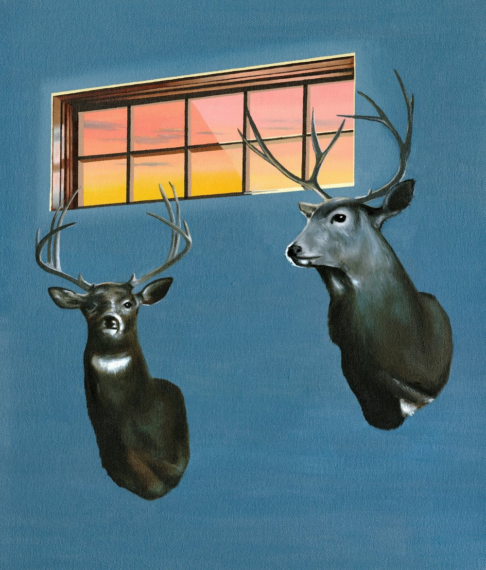 "Deer heads, 2017. Oil on canvas 21"" x 16"""