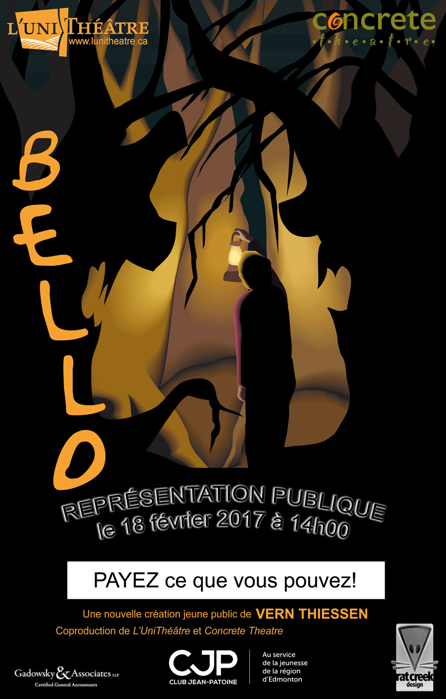 *For families with children 5 to 12 years old. in French WITHOUT English surtitles. If you wish to attend an English performance (Feb. 17th and 18th), contact Concrete Theatre.
