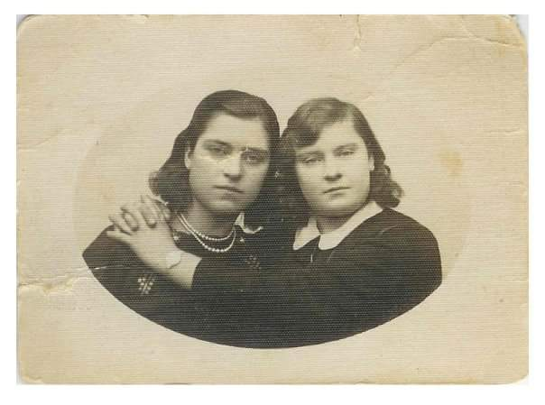 "Katarzyna ""Kasia"" Kolenda and her best friend, ca. 1938."