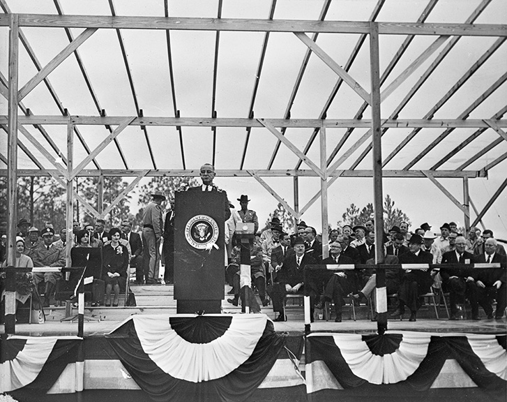 Lyndon B. Johnson at the groundbreaking for the Cross Florida Barge Canal. 1964 . Black & white photoprint. State Archives of Florida, Florida Memory. Accessed 21 Dec. 2018.  https://www.floridamemory.com/items /show/153282.
