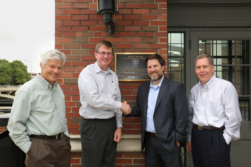 The Riverside team traveled to Iowa in late May to work toward common goals in the future of flood mapping. (From left to right: Witold Krajewski, Director of IFC, Larry Weber, Director of IIHR, Brian Ashe, CEO Riverside Technology, George Smith, Director of NCEI & SEFSC Programs.
