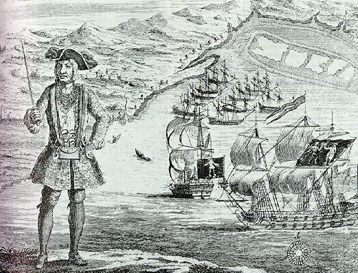 Bartholomew Roberts with his ship and captured merchant ships in the background. A copper engraving  [1]   from A History of the Pyrates by Captain Charles Johnson c. 1724 Engraved by Benjamin Cole (1695–1766), Public Domain.