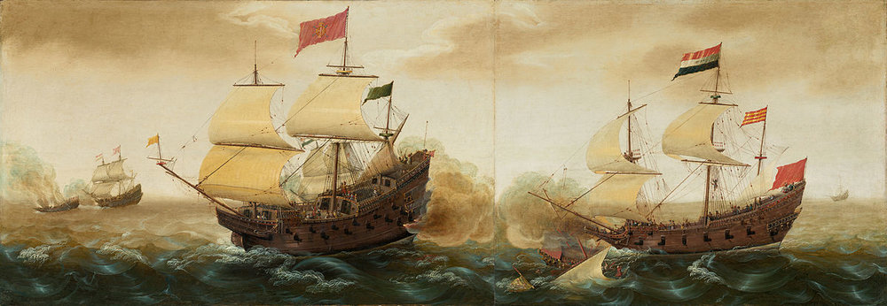 A Spanish galleon (left) firing its cannons at a Dutch warship (right). Cornelis Verbeeck, ca. 1618/1620. By Cornelis Verbeeck (circa 1590–after 1637) - National Gallery of Art.