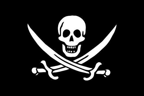 Jolly Roger flown by Calico Jack Packham. By Unknown - Open Clip Art Library, CC0.