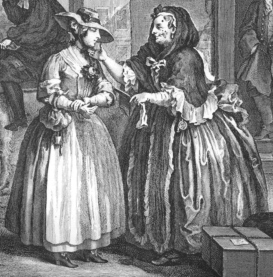 A detail from plate 1 of William Hogarth's (1697–1764) The Harlot's Progress, showing brothel-keeper Elizabeth Needham, on the right, procuring a young woman who has just arrived in London. By William Hogarth.