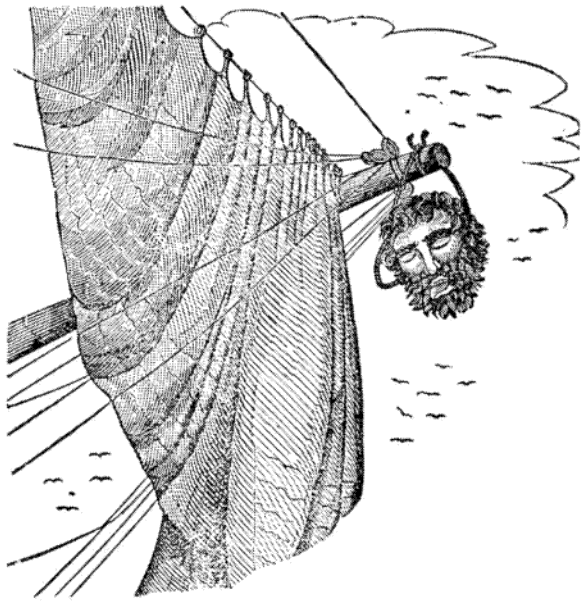 Edward Teach's (Blackbeard) severed head hangs from Maynard's bowsprit, as pictured in Charles Elles's  The Pirates Own Book  (1837)
