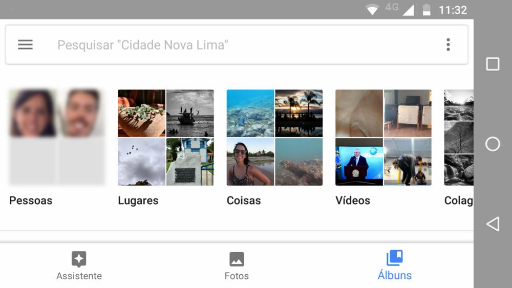 """Ao entrar no menu """"Álbuns"""" o app agrupa suas fotos e oferece várias opções interessantes de pesquisa como o """"Coisas"""" por exemplo, ou ainda separa todas as fotos que determinada pessoa aparece na sua biblioteca de fotos."""