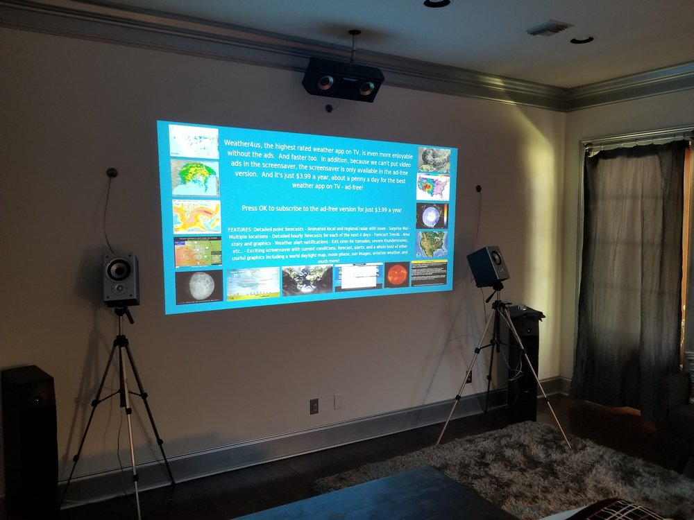 Props and Projection - Camera Tri Pods were used as speaker mounts. Paint color choice was movie screen silver which eliminates the need for a wall mounted screen.