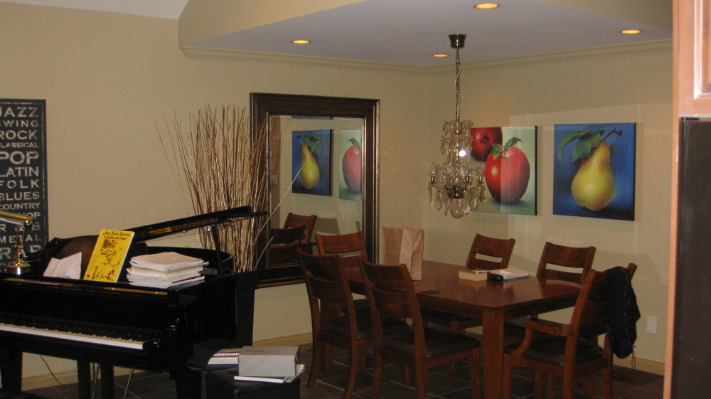 BEFORE: Dining Area - Notice the light fixture and placement of the piano.