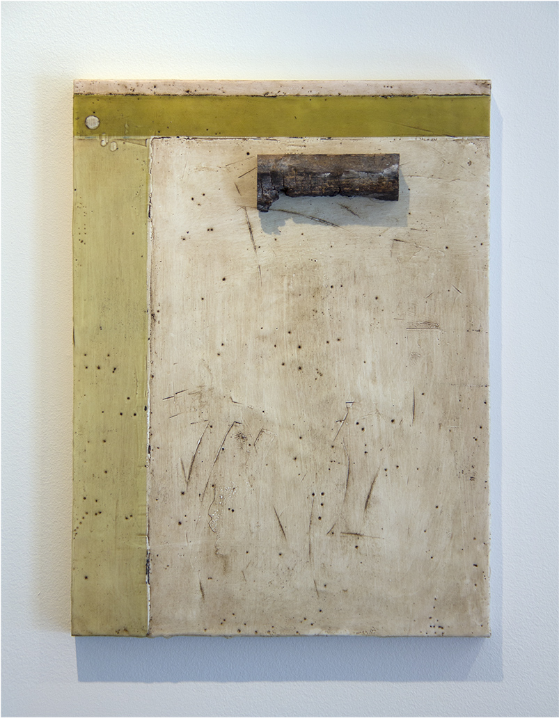 encaustic, tar, found object  12x16