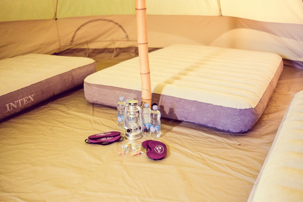 Hotel Bell Tent Accommodation Standard Package Comfy Inflatable Mattress
