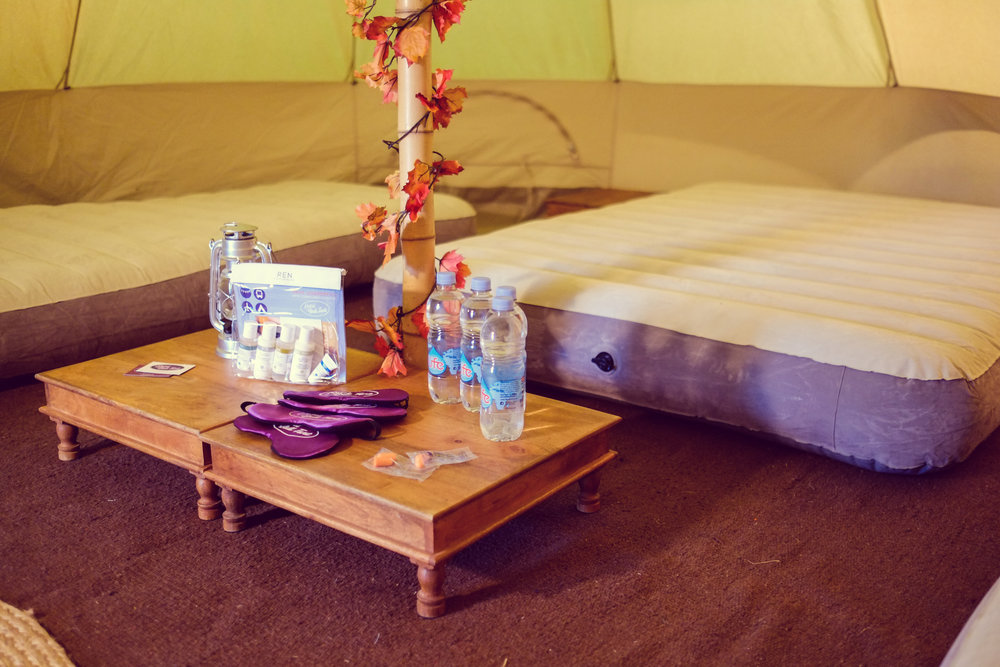 Hotel Bell Tent Accommodation Classic Package Comfy Inflatable Mattress and Low Level Table