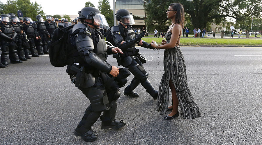 Ieshia Evans protesting in Baton Rouge. Photograph: Jonathan Bachman/Reuters