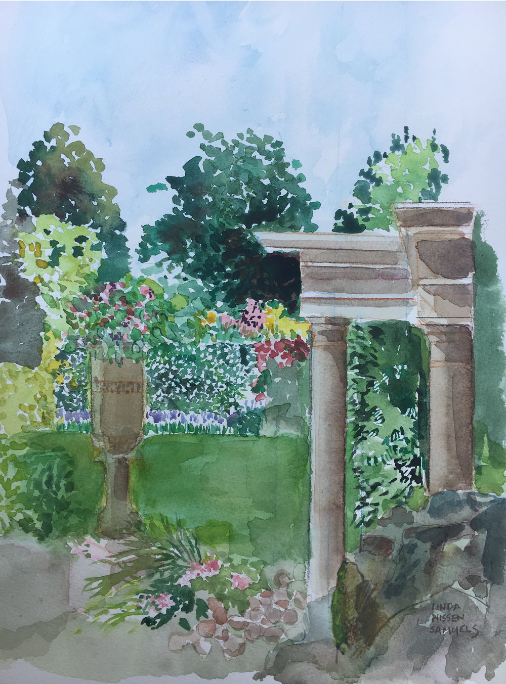 The Terrace at Sopwell House       watercolour      406 x 305mm (16 x 12 in)           £450.00