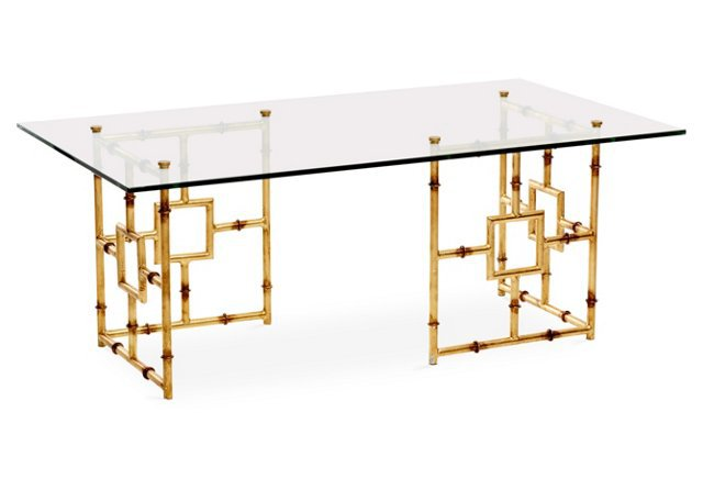 Bamboo Float Glass Coffee Table//One Kings Lane
