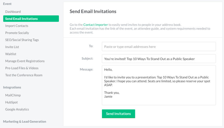 Customizing bigmarker craft a subject line draft the body of your invitation and click send our invite template will automatically include your webinar information and a big stopboris Images
