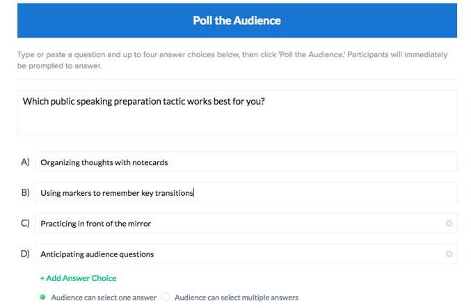 enter your poll question and answer choices