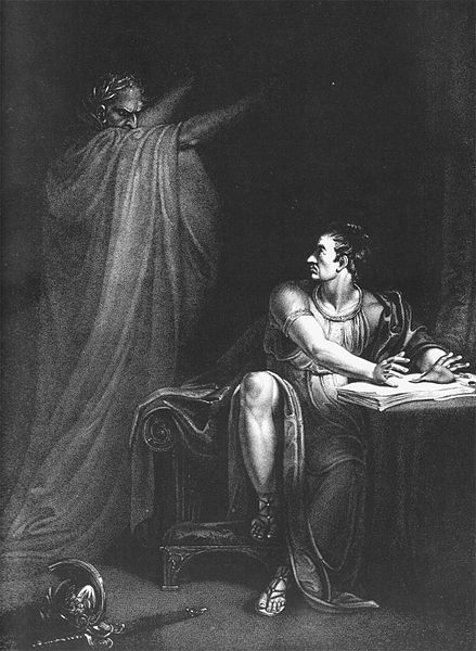 Brutus and the Ghost of Caesar  . Copperplate engraving by Edward Scriven from a painting by Richard Westall  . London, 1802.