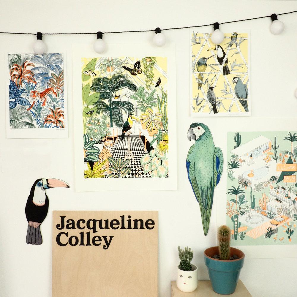 Here is my studio wall, I love making Riso and Screen prints and here is a selection on my studio wall! I painted this sign with my name on for when I pop up at markets!