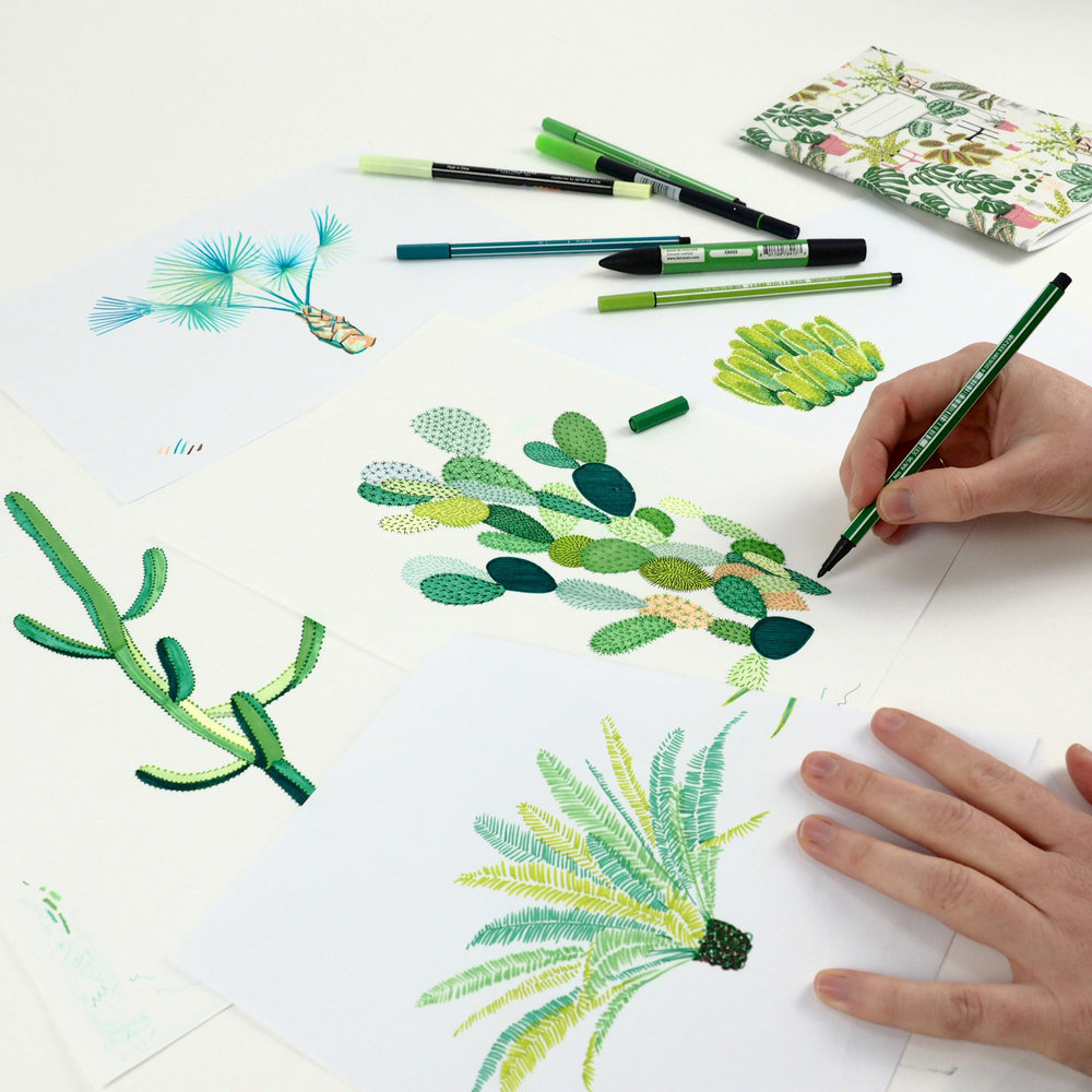 Here you can see the original drawings I used to make the cacti design, they were inspired by a botanical garden that I visited in Marrakech called Les Jardins Majorelle I love plants and Cacti!