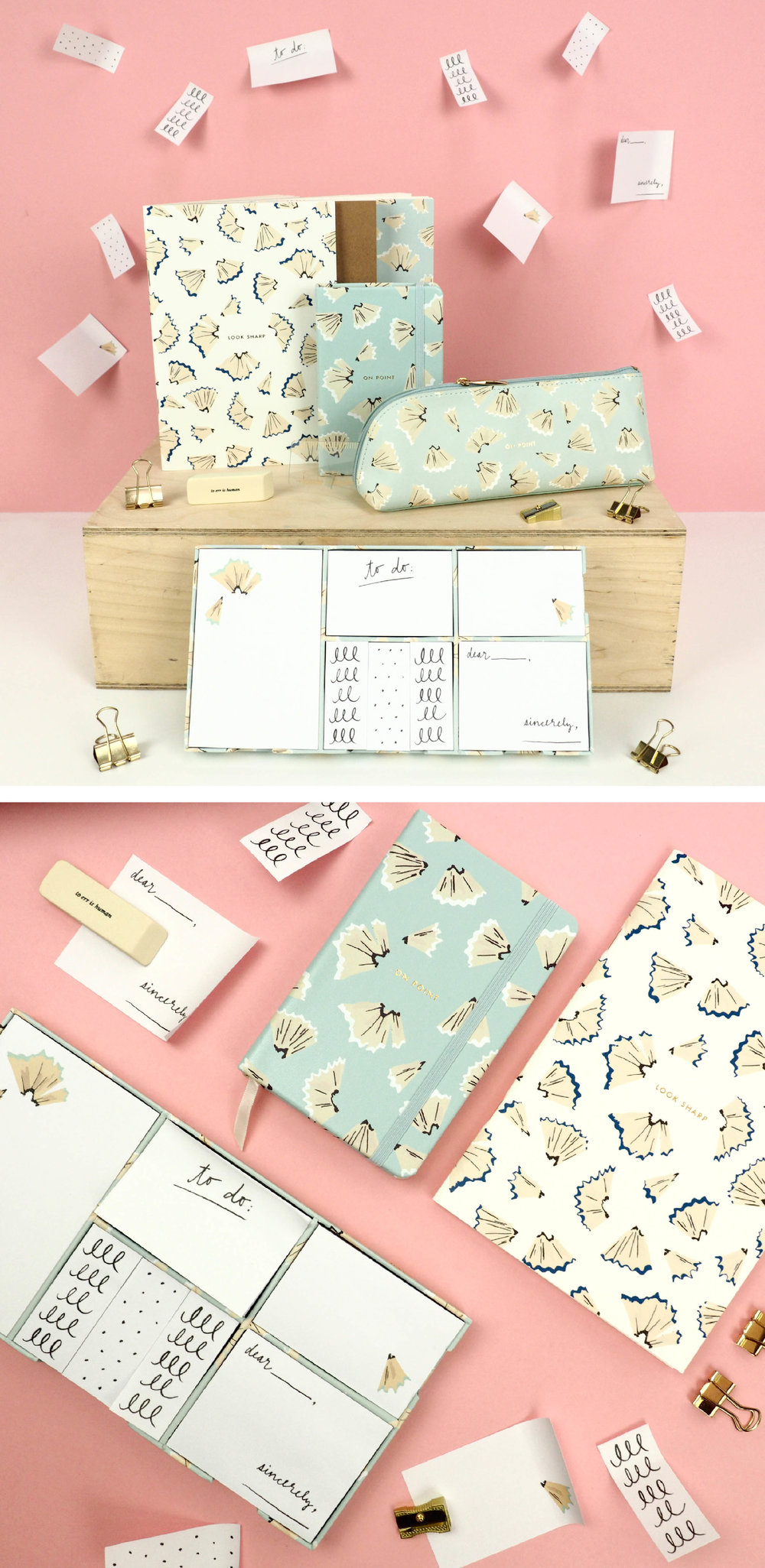 On point, kate spade range featuring the pencil shavings print