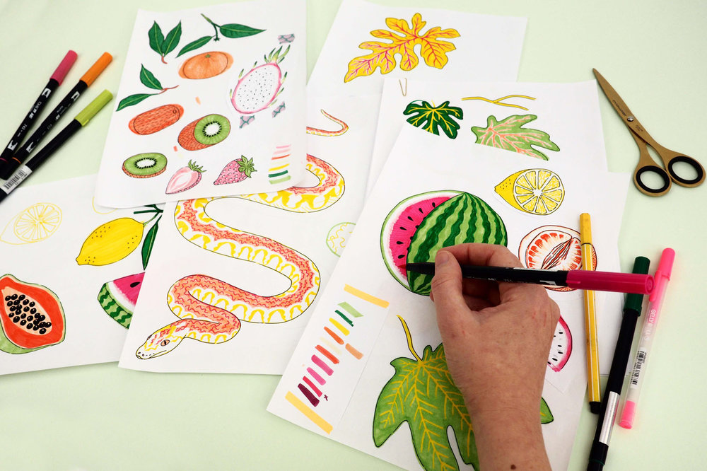 Drawing some tropical fruit elements for a fruity print!