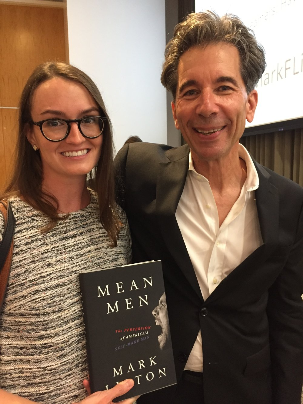 Production editor Nicole with author Mark Lipton at the NYC launch of Mean Men, September 5, 2017